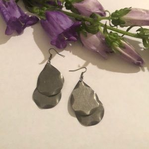 Hammered and brushed metal earrings